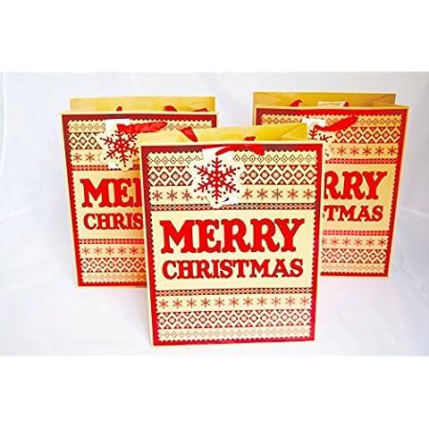 Confezione da 3grandi Merry Natale Sacchetti Regalo