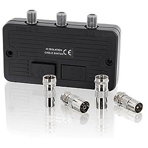 Umschalter Verteiler - SAT Kabel TV DVB-T HD Digital HDTV 4K UltraHD 3D - für BK- und SAT-Anlagen F-Buchse - 2x F-Buchse - inkl. 4 Stück Adapter