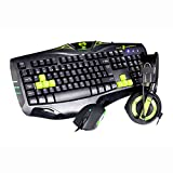 E-Blue Cobra Gaming Keyboard with Mouse and Headset - Green