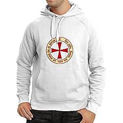 lepni.me Sudadera con Capucha El Orden templario de los Caballeros Cristianos (XX-Large Blanco