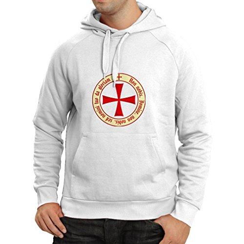 Kapuzenpullover Tempelritter Templer Orden T-Shirt (Knights Templar) für Herren mit Tatzenkreuz Ordo Red (Large Weiß (Kostüme Dunkle Winkel)
