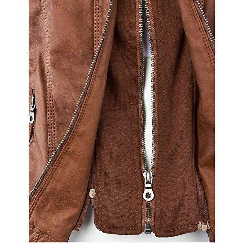 Femme Manteaux Hiver Faux Leather Jacket Veste à fermeture éclair Détachable Capuche Manteau Moto Meedot Kaki