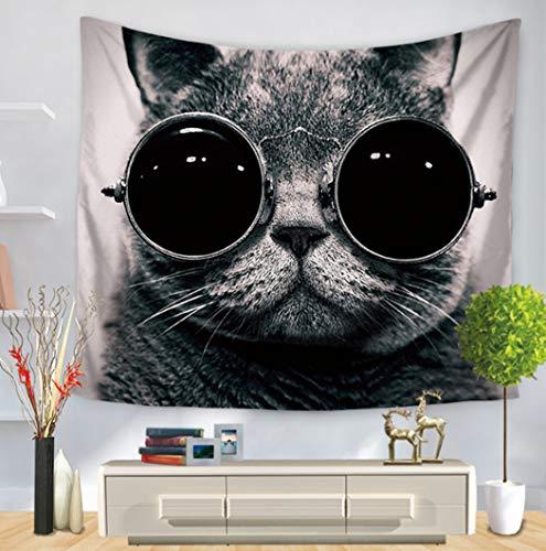 Tapestry Wall Hanging,Katze Mit Brille Im Indischen Stil Böhmischen Print Stoff Tapisserie, Gotische Psychedelische Mandala Große Größe Couch Decke Für Home Korridor Wohnzimmer Schlafzimmer Kunst