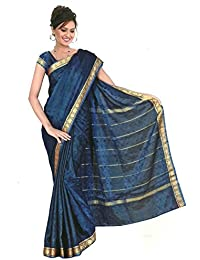 Fertig gewickelter Regenbogen Sari Royalblau Gr. S