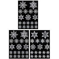 Yililay Copos de Nieve 57pcs Premium Pegatinas Agujero Negro Tema de la Navidad del Copo de Nieve Pegatina de Ventana para la Fiesta de casa de reunión Prom, DIY y Herramientas