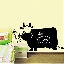 Vinilo adhesivo de pared, diseño de pizarra negra con forma de vaca, extraíble