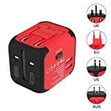 Uvistar 165009 4-in-1 Reiseadapter (3 polig, 150 Länder, mit USB) Rot