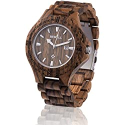 ZEITHOLZ wooden watch / Bewell RATHEN / 100% Zebrawood / natural product / featherweight / hypoallergenic / sustainable / comfortable to wear / date display