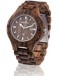 Reloj de madera ZEITHOLZ / Bewell RATHEN / madera de cebra 100% / producto natural / peso pluma / hipoalergénico / sostenible / fácil de usar/ fecha en pantalla