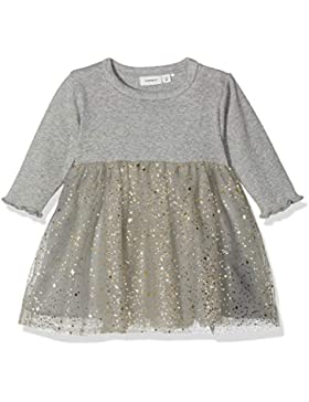 NAME IT Baby-Mädchen Kleid NBFRANITA LS Tulle Dress, Grau (Grey Melange), 56