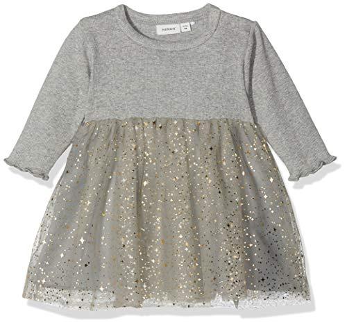 NAME IT Baby-Mädchen Kleid NBFRANITA LS Tulle Dress, Grau (Grey Melange), 86