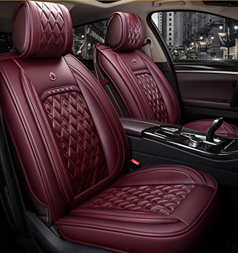 YE Universal Autositzbezug - 5 Sitze Komplettsatz, Verschleißfeste Leder Four Seasons Universal Sitzkissen Innenraumausstattung (Farbe : Wine red Standard)