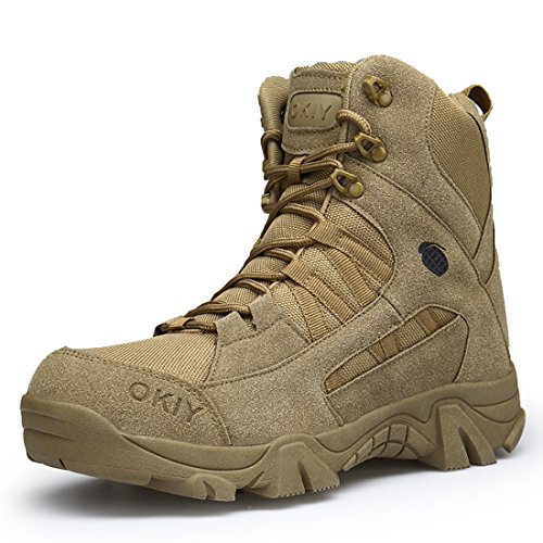 FKMI Mens Hiking Boots Military Tactical Combat Boots Womens Trekking Shoes with Side Zip High Top Walking Climbing Sneakers