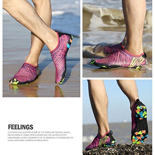 Saguaro® Skin Barefoot Chaussures Aqua Aqua Chaussettes Pour Plage Swim Surf Yoga Rose Rouge 4