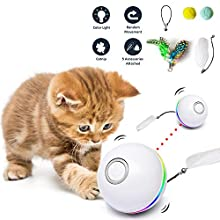 Fairwin Cat Toys for Indoor Cats, Interactive Cat Toy Ball with LED Light and Catnip Toys for Cats Kitten Funny Chaser Roller Auto 360 Degree Self-Rotating & USB Rechargeable (2020 Upgrade Version)
