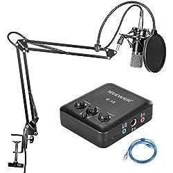 Neewer Profesional Negro Micrófono de Condensador, Suspensión ajustable tijera brazo de soporte, montaje de choque y USB tarjeta de sonido Negro impulsión libera con mezcla kit de volumen