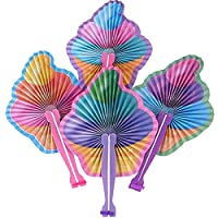 Kicko 10 Inch Folding Ice Cream Paper Fan - 12 Pieces of Accordion Style Multicolored Assortment - Perfect for Treat Shops, Festivals, Birthday, School Events, Novelties, Party Favor and Supply