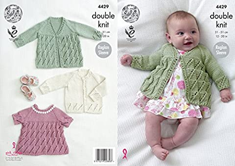 King Cole Baby Double Knitting Pattern Matinee Coat Angel Top & Cardigan Cottonsoft DK (4429)