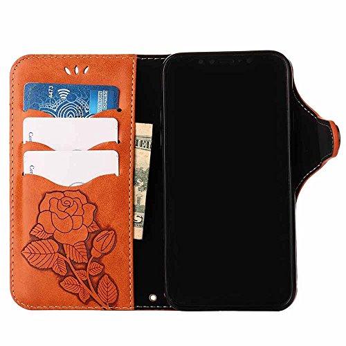 Custodia iPhone X, COOSTOREEU Retro Embossed Roses Magnetic Slotted Wallet Case+ Cinghia di Polso Smontabile Progettazione per Apple iPhone X, Arancia Arancia