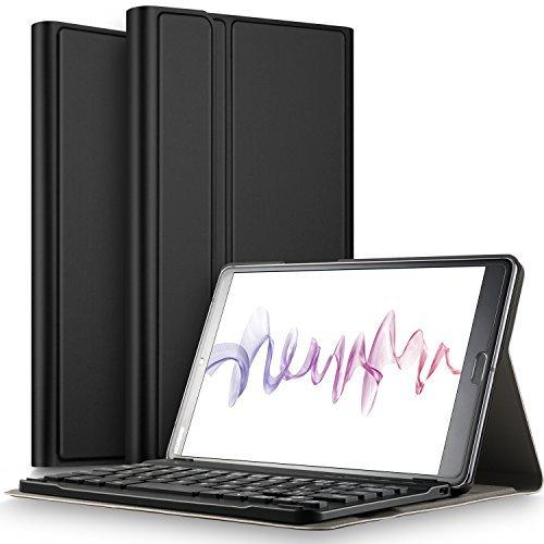 IVSO Tastatur Hülle für Huawei MediaPad M5 8.4, [Deutsches QWERTZ-Layout] Keyboard Case für Huawei MediaPad M5 8.4 Zoll 2018 Modell,Schwarz
