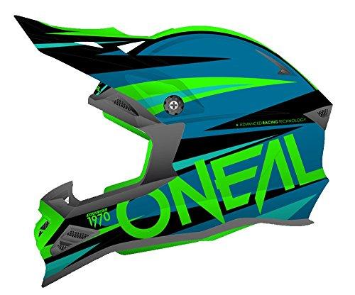 Oneal 8Serie agresor casco de Motocross, Blue Neon Green