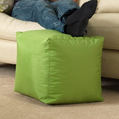 BAR B CUBE Beanbag Stool LIME GREEN - Footstool for Outdoor & Indoor use (water resistant)