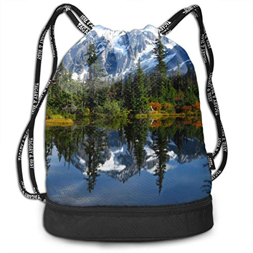 Sporttaschen, Rucksäcke,Drawstring Backpack Snow Mountain Lake Print Travel Sport Yoga Gym Sack Bag Outdoor Bundle Backpack Laptop Bag Beach Rucksack for Men/Women