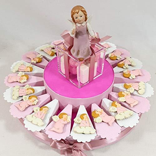 (20 fette + centrale) bomboniere battesimo femmina angeli rosa calamita con centrale angioletto scatola marshmallow