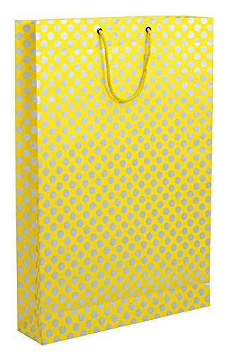 BDPP Premium Gift Paper Carry Bags-Silver Print On Lemon Base(Pack Of 10)-Size 16 X 11 Inches