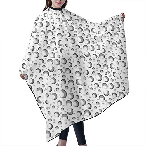 Barber Cape,Bubbles Water Drops Black White Gray Grey Spots Dots Champagne Cocktail Drink s Salon Polyester Cape Haircut Apron 55