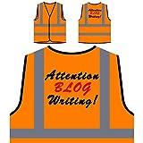 Aufmerksamkeit Blog schreiben! Lustige Neuheit neu Personalisierte High Visibility Orange Sicherheitsjacke Weste f12vo