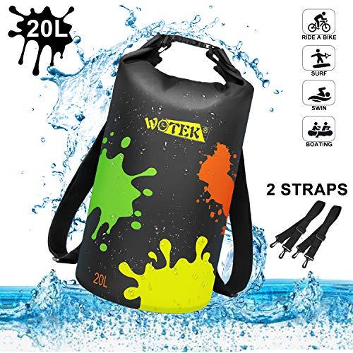 WOTEK Dry Bag,Wasserdichter Packsack Gepolsterte Schulter-Gurte,20L Wasserdicht Taschen,Wasserfester Rucksack,für Ruder,Boot und Kajak,Rafting Angeln,Camping und Snowboarden -