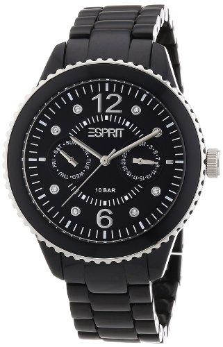 Esprit marin S.ES105802001 - Reloj analógico de cuarzo para mujer, correa de aluminio color negro