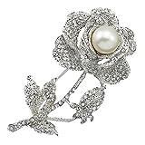 Sanwood Damen Rose Strass Brosche Pin Brautschmuck , silber, einheitsgröße