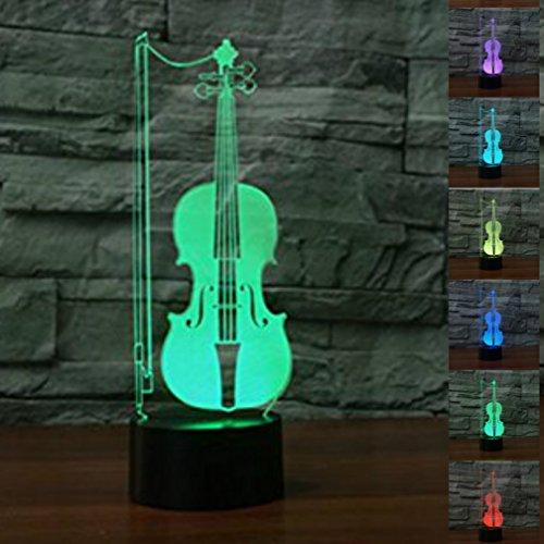 Jinson well 3D geige Lampe optische Illusion Nachtlicht, 7 Farbwechsel Touch Switch Tisch Schreibtisch Dekoration Lampen perfekte Weihnachtsgeschenk mit Acryl Flat ABS Base USB Kabel kreatives Spielzeug