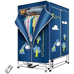 Séchoir 1200w à Linge Portable 66lb vêtements de Linge électriques Etendoir économie d'énergie (Anion) Repliable Mode Haute efficacité Automatique minutage numérique télécommande