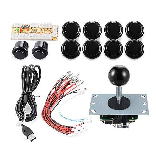Arcade Game Controller DIY Teile Kit für Arcade Cabinet Joystick MAME Raspberry Pi mit Zero Delay Encoder Board Free Size schwarz (Controller Arcade-cabinet)
