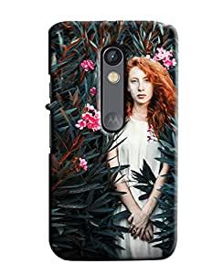 Blue Throat Girl In A Forest Printed Designer Back Cover/Case For Motorola Moto X Play