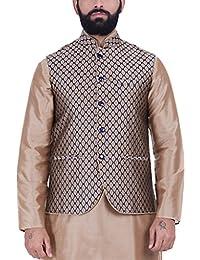 Kisah Beige & Blue Jaquard Cotton Silk Men's Waistcoat
