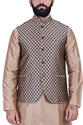 Kisah Jaquard Cotton Silk Beige & Blue Mens Nehru Jacket