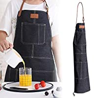 Sliveal Bib Apron, Adjustable Chef Apron With Pockets, Leather Denim Apron, Nordic Industrial Style Cotton Baking Apron For Men Women Working Cooking Gardening Crafting Grill And Baking, Blue