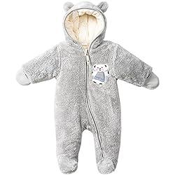 Vine Bébé Combinaison De Neige Fleece Manteau à Capuche Hiver Footed Combinaisons Chaud Barboteuse Jumpsuit, Gris 3-6 Mois