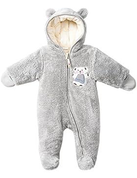 Baby Overalls mit Kapuze Schneeanzüge Fleece Strampler Spielanzug Footed Jumpsuit Winter Outfits