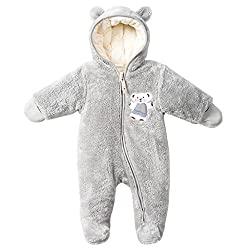 751daa8576f0a Vine Baby Snowsuits Winter Overalls Hooded Fleece Rompers Footed Romper  Girls Boys Jumpsuit