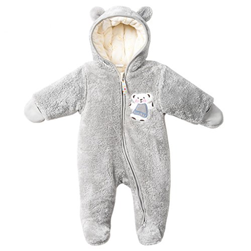 Baby Overalls mit Kapuze Schneeanzüge Fleece Strampler Spielanzug Footed Jumpsuit Winter Outfits, Grau 3-6 Monate