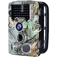 aucee Tracker Trail Cámara 16Mp 1080P Hd 120degree PIR Sensor Caza Cámara 46pcs LEDs IR infrarrojos Cámara, cámara de vida silvestre IP56Spray diseño de protección de agua pantalla LCD de 2,4pulgadas 0.2s disparador tiempo
