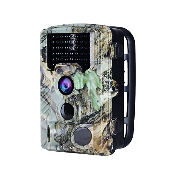 "AUCEE Tracker Trail Camera 16MP 1080P HD 120Degree PIR Sensor Hunting Camera 46pcs IR LEDs Infrared Game Camera,Wildlife Camera IP56 Spray Water Protected Design 2.4"" LCD Display 0.2s Trigger Time"
