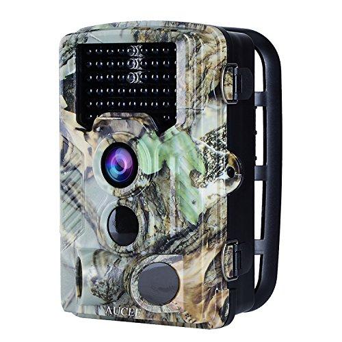 """AUCEE Tracker Wildkamera Fotofalle 16MP 1080P FHD 120°Breite Vision Infrarote Jagdkamera, 20m Nachtsicht 0.2s Trigger-Zeit Wildlife Kamera Wasserdichte IP56 Überwachungskamera mit 2.4\"""" LCD Display"""