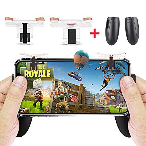 Mando de Juego Móvil (2018 Versión actualizada), Gatillo Grip para Juego Móvil con Joystick para Smartphone de 4.5 a 6.4 Pulgadas, Controlador de Mando para Juegos como PUBG / Fortnite / Rules of Survival para Teléfono Android/iOS
