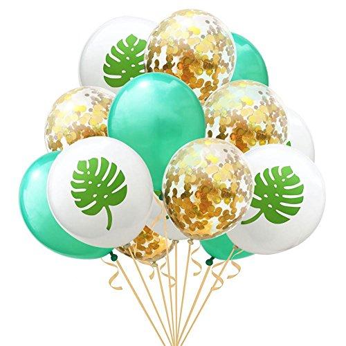 Luftballons 15 Stück 12 Zoll Flamingo Ananas Schildkröte Blatt Latex Luftballons Konfetti Luftballons für Hochzeit Dekoration Geburtstag Weihnachten Hawaii Party Decor